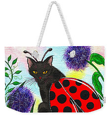 Weekender Tote Bag featuring the painting Logan Ladybug Fairy Cat by Carrie Hawks