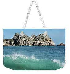 Weekender Tote Bag featuring the photograph Logan Rock Porthcurno Cornwall by Terri Waters