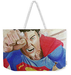 Weekender Tote Bag featuring the drawing Lois' Death by Michael McKenzie