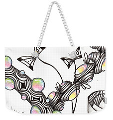 Weekender Tote Bag featuring the drawing Lollywimple Garden by Jan Steinle