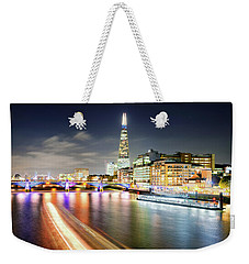 London At Night With Urban Architecture, Amazing Skyscraper And Boat At Thames River, United Kingdom Weekender Tote Bag