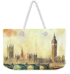 London Big Ben And Thames River Weekender Tote Bag by Juan Bosco