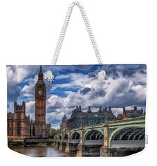 Weekender Tote Bag featuring the painting London Big Ben by David Dehner