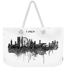 London Black And White Skyline Watercolor Weekender Tote Bag by Marian Voicu
