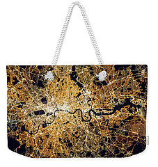 Weekender Tote Bag featuring the photograph London From Space by Delphimages Photo Creations