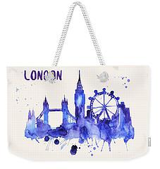 London Skyline Watercolor Poster - Cityscape Painting Artwork Weekender Tote Bag