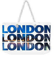 London Text Weekender Tote Bag by Matt Malloy