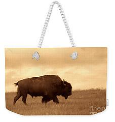 Lone Bison  Weekender Tote Bag by American West Legend By Olivier Le Queinec