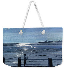 Lone Fisherman On Worthing Pier Weekender Tote Bag by Carole Robins