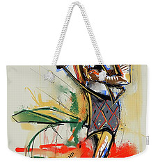 Weekender Tote Bag featuring the painting Lone Native Soldier by John Jr Gholson