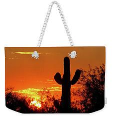 Lone Saguaro Sunrise Weekender Tote Bag