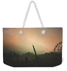 Weekender Tote Bag featuring the digital art Lonely Fence Post  by Chriss Pagani