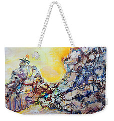 Weekender Tote Bag featuring the painting Lonely Flower by Mary Schiros