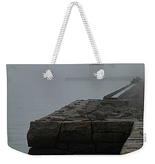 Weekender Tote Bag featuring the photograph Lonely Salem Lighthouse In Fog by Jeff Folger