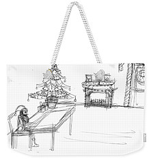 Weekender Tote Bag featuring the drawing Lonely Santa by Artists With Autism Inc