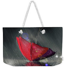 Weekender Tote Bag featuring the digital art Lonely Umbrella by Darren Cannell
