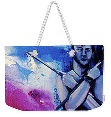 Weekender Tote Bag featuring the painting Lonely Warrior  by Rene Capone