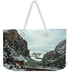 Weekender Tote Bag featuring the photograph Lonesome Snowy Winter In Zion by Gaelyn Olmsted