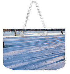Long Blue Shadows Of Early Morning Weekender Tote Bag by Angelo Marcialis