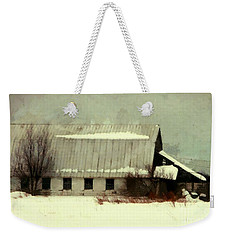 Weekender Tote Bag featuring the photograph Long Cold Winter - Winter Barn by Janine Riley