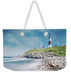 Weekender Tote Bag featuring the digital art Long Island Lighthouse by Kai Saarto