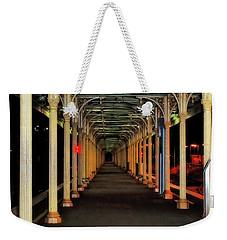 Weekender Tote Bag featuring the photograph Long Platform Albury Station By Kaye Menner by Kaye Menner
