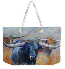 Weekender Tote Bag featuring the painting Longhorn Country by Karen Kennedy Chatham