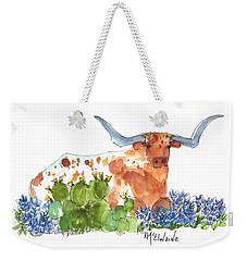 Longhorn In The Cactus And Bluebonnets Lh014 Kathleen Mcelwaine Weekender Tote Bag