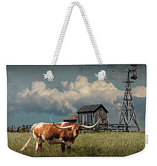 Longhorn Steer In A Prairie Pasture By Windmill And Old Gray Wooden Barn Weekender Tote Bag by Randall Nyhof