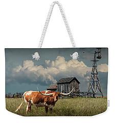 Longhorn Steer In A Prairie Pasture By Windmill And Old Gray Wooden Barn Weekender Tote Bag