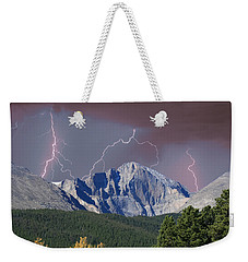 Longs Peak Lightning Storm Fine Art Photography Print Weekender Tote Bag