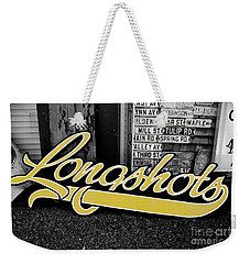 Weekender Tote Bag featuring the photograph Longshots - Sign by Colleen Kammerer