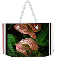 Weekender Tote Bag featuring the mixed media Longwood Lilies by Trish Tritz