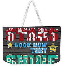 Look At The Stars Coldplay Yellow Inspired Typography Made Using Vintage Recycled License Plates Weekender Tote Bag