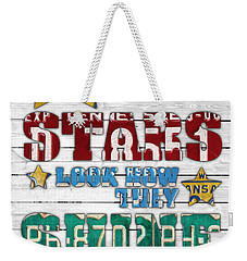 Look At The Stars Coldplay Yellow Inspired Typography Made Using Vintage Recycled License Plates V2 Weekender Tote Bag by Design Turnpike