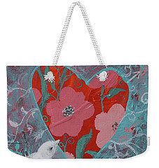 Weekender Tote Bag featuring the painting Look Into My Heart  by Robin Maria Pedrero