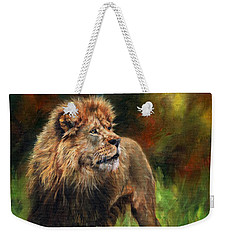 Weekender Tote Bag featuring the painting Look Of The Lion by David Stribbling