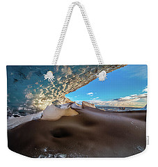 Weekender Tote Bag featuring the photograph Look Out From Glacier Cave by Allen Biedrzycki