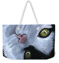 Weekender Tote Bag featuring the painting Looking At You by Anastasiya Malakhova