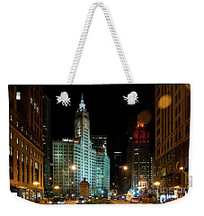 Looking North On Michigan Avenue At Wrigley Building Weekender Tote Bag