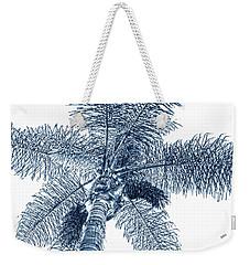 Looking Up At Palm Tree Blue Weekender Tote Bag by Ben and Raisa Gertsberg