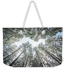 Weekender Tote Bag featuring the photograph Looking Up In The Forest by Hannes Cmarits