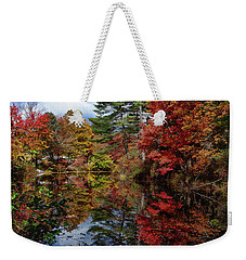 Weekender Tote Bag featuring the photograph Looking Up The Chocorua River by Jeff Folger