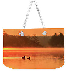 Loon And Chick At Sunrise Weekender Tote Bag