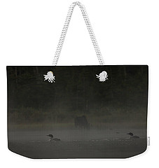 Loon And Moose In The Mist Weekender Tote Bag