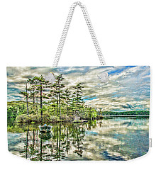 Weekender Tote Bag featuring the digital art Loon Island by Daniel Hebard