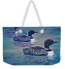 Weekender Tote Bag featuring the painting Loon Lagoon by Teresa Ascone