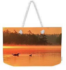 Loon With Young At Sunrise, Nova Scotia Weekender Tote Bag