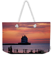 Lorain Lighthouse Sunset Weekender Tote Bag