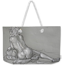 Weekender Tote Bag featuring the drawing Lori Reclining With Hair Up by Donelli  DiMaria
